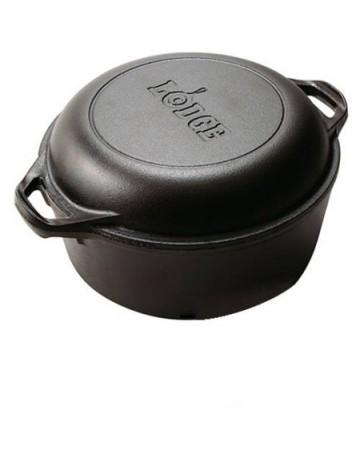 Combo Μαντεμένια Κατσαρόλα  (4,73lt) με καπάκι - τηγάνι  Δ: 24,13 cm - LODGE®  L8DD3